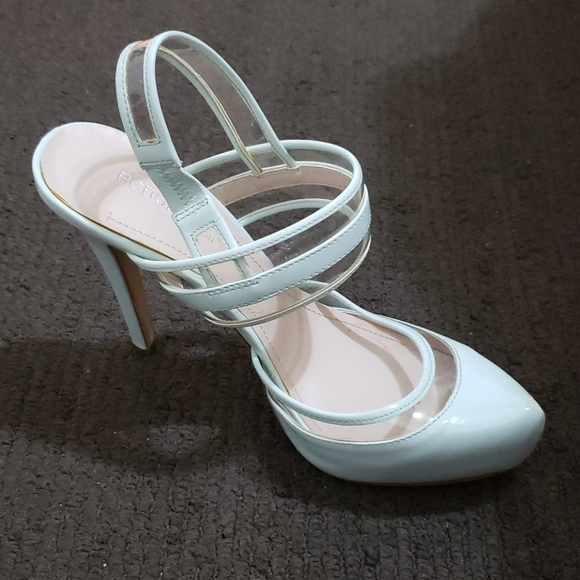 BCBGeneration Clear and Teal Platform High Heels